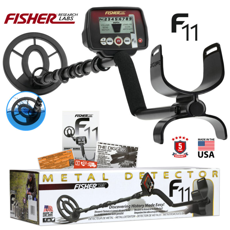 """Fisher F11 Metal Detector with 7"""" Waterproof Search Coil"""