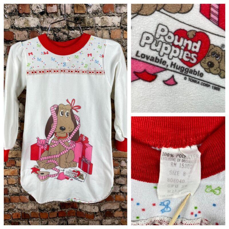 Vintage 80s 1986 Pound Puppies Tonka Nightgown Pajamas Dress Christmas Holiday @