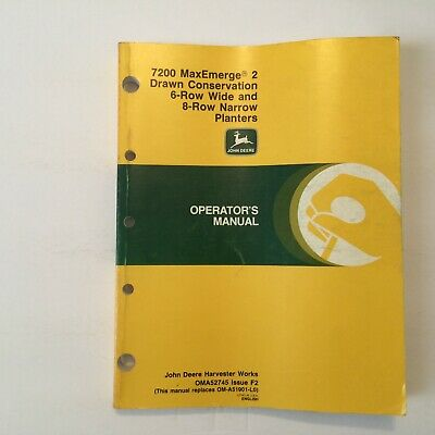 John Deere 7200 Maxemerge 2 Drawn Conservation 6 8 Row Planter Owners Manual