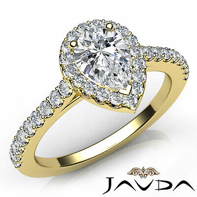 Halo Pear Diamond Engagement French U Pave Set Wedding Ring GIA H Color VVS2 1Ct 7