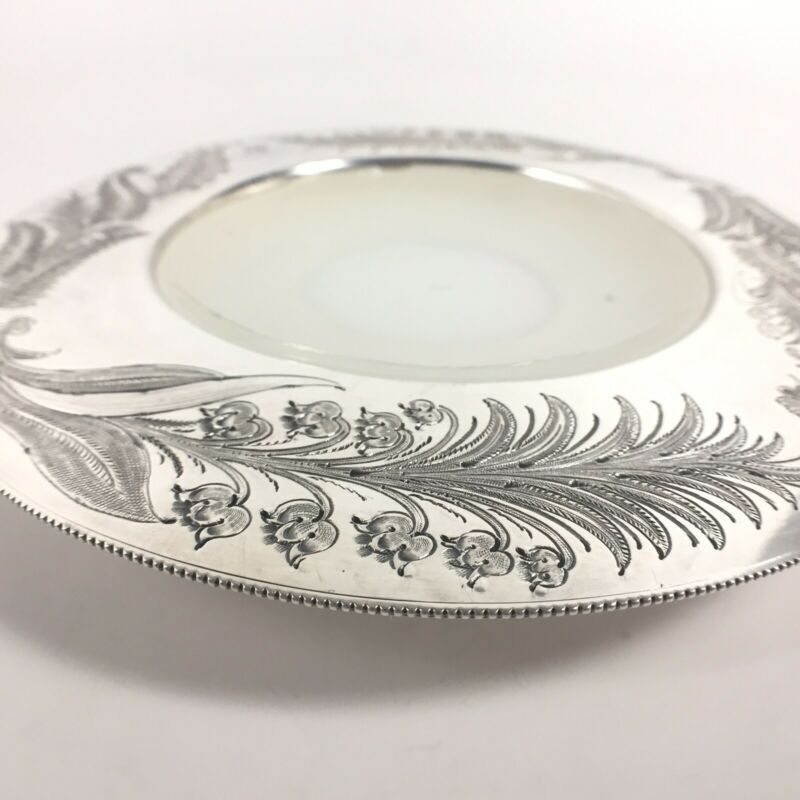 Antique 1860-1885 Sheffield Silverplate Dish Milk Glass Insert by Walker & Hall