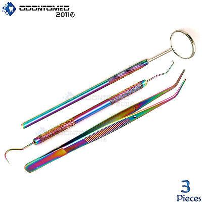 Dentists Tools Hygiene Kit Include - Tarter Scraper Mirror Tweezers Rainbow