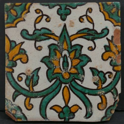 Vintage Tunisian Decorated Tile rare
