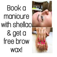 Shellac manicure with free brow wax!