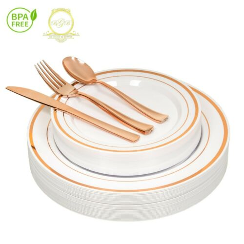*On SALE* ROSE GOLD Plastic Disposable Plates Silverware 26 guests 130 Pcs