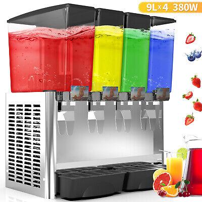 4 Tank Juice Beverage Dispenser Commercial Cold Drink W Thermostat Controller
