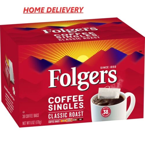 Folgers Coffee Singles Classic Roast Coffee Bags, 38 Count FREE SHIPPING