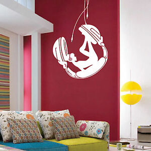 Autocollant decalque art mural decoration fille casque for Decalque mural