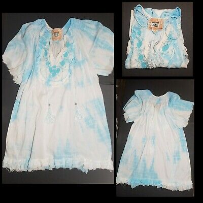 Chelsea & Violet Tie Dye Shirt 💙SMALL Tunic Top Peasant Tassel Boho Embroidered