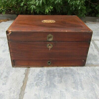 VICTORIAN MAHOGANY TRAVELLING CHEST & SEWING BOX in need of restoration