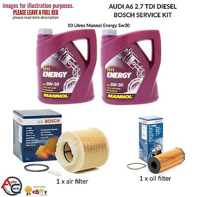 BOSCH SERVICE KIT FOR AUDI A6 2.7 TDI OIL AND AIR FILTER + 10L MANNOL OIL