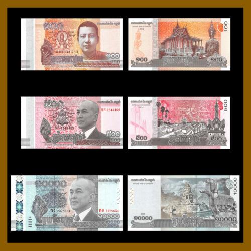 Cambodia 100 500 10000 Riels (3 Pcs Full Set), 2014-2015 P-65/66/67 Unc