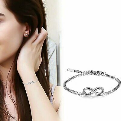 Womens Stainless Steel Charm Love Infinity Adjustable Bracelet Chain Anklet Gift Bracelets