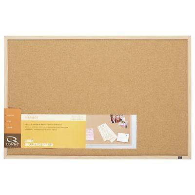 Quartet Cork Bulletin Board 23-Inch x 35-Inch Oak Finish Frame (35-380352) 1