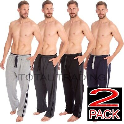 2 pack  pyjama bottoms trousers mens  pjs lounge wear pants side stripe edge