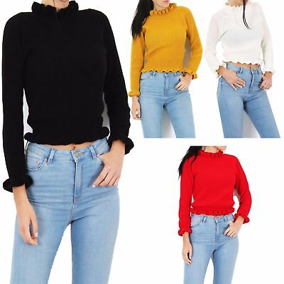 Sleeve Knitted Jumper (Ladies Knitted Jumper Top Women Ruffle Frill Hem Long Sleeve Fashion Tops  8-14)