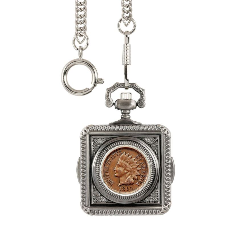NEW Smithsonian Institution Civil War Indian Head Penny Coin Pocket Watch 30213