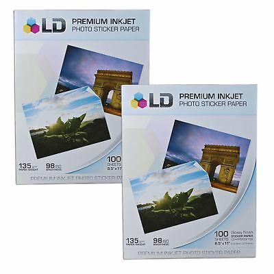 2 LD Glossy Inkjet Photo Paper 8.5 X 11 100 pack - with Sticker