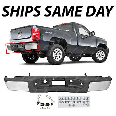 Complete  Chrome Rear Bumper for 2007 2013 Chevy Silverado GMC Sierra 1500 Truck
