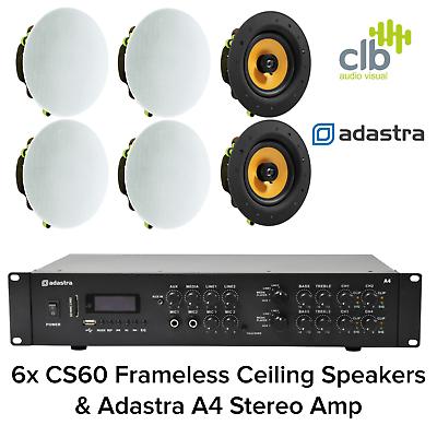 6x Ceiling Speakers 100V Line Bluetooth Amplifier Kit For Restaurants Shops Cafe
