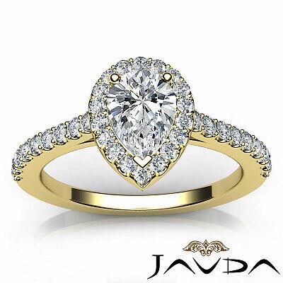 Halo French U Pave Women's Pear Diamond Engagement Wedding Ring GIA G VVS2 1 Ct 10