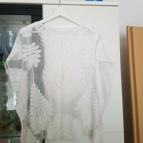 Damen Bluse Gr.52  Weiß Neu Zustand.Stoff wie Spitze.sehr elegante Bluse