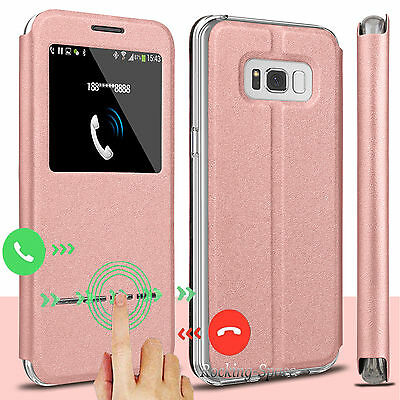 For Samsung Galaxy S8  Plus   S8 Window View Flip Case Pu Leather Stand Cover