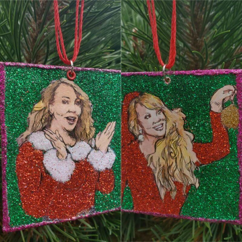 Mariah Carey Princess of Christmas - hand-painted Glitter Holiday Ornament