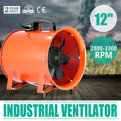 12 Industrial Fan Ventilator Extractor Blower 110v 250mm Duct Hose Metal Axial