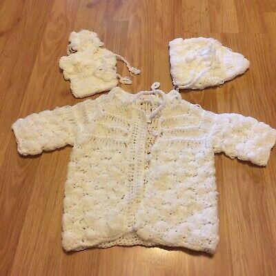Handmade Vintage Knit White Baby Sweater Cardigan, Hat & Booties - Handmade Baby Sweater