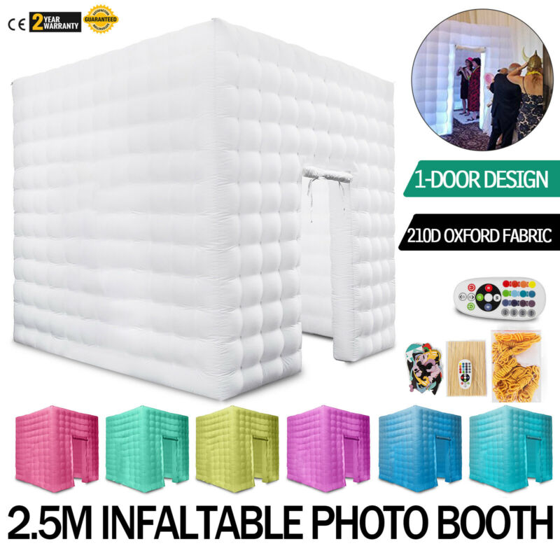 Inflatable LED Light Photo Booth Air Tent Wedding Party Christmas 8.2FT Cube US