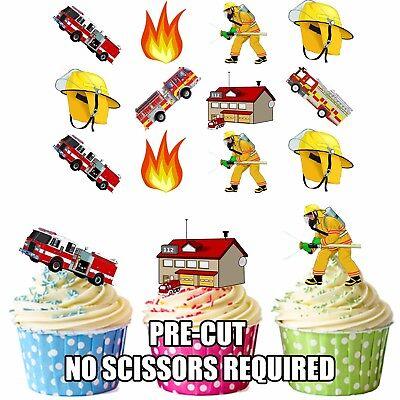 Vorgeschnitten Feuerwehrmann Themen 36 Essbare Cupcake Topper Dekorationen Boys