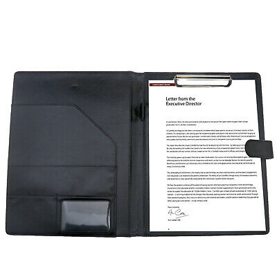 A4 Executive Men Business Conference Folder Pu Leather Document File Black