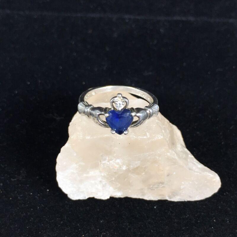 Vintage Sterling Silver Claddagh Ring Blue Stone CZ Irish Celtic Wedding Sz 6