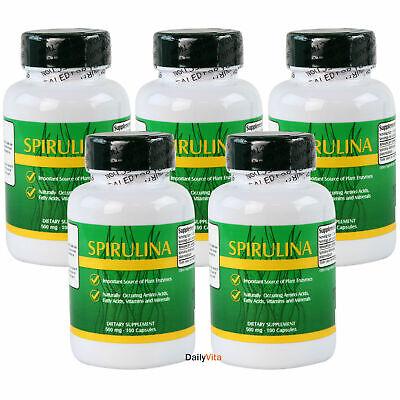 5x Spirulina 500 mg 100 Cap = 500 Caps Antioxidant Green Food,Vegetarian Protein