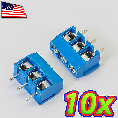 10x 3-pin 5.08mm Pitch Pcb Mount Screw Terminal Block Connector - 3p - 301-3p
