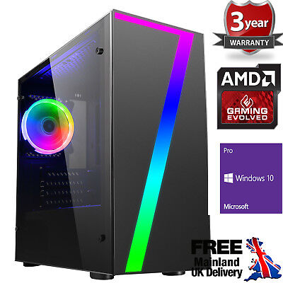 Computer Games - Mega Fast AMD Quad Core 8GB 240GB SSD Home Gaming PC Computer 7 RGB Windows 10