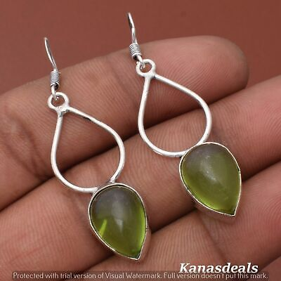 Thanksgiving Gift 6 Gm Green Onyx 925 Sterling Silver Plated Earring ER-28315