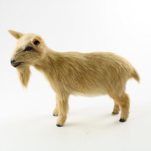 BROWN GOAT FUR FIGURINE – Soft Animal Statue – Realistic Handmade Sculpture