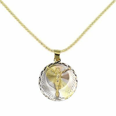 14k Gold Filled 3 Tone Jesus Christ Crucifix Circle Round Pendant Chain Necklace 14k Gold Filled Crucifix Necklace