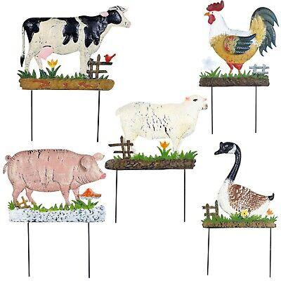 Dekoratives Metall Rost Frei Bauernhoftiere für Hinterhof Garten Wand Aufhängung