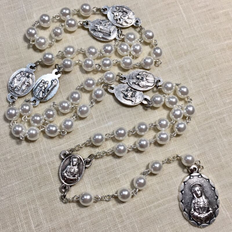 """SEVEN SORROWS CHAPLET rosary pearl made in Poland of Italian parts 18"""""""