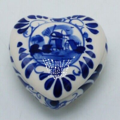 Delft Blue Holland Hand Painted Trinket Box Heart-Shaped with Windmill   Hand Painted Heart Shaped Box