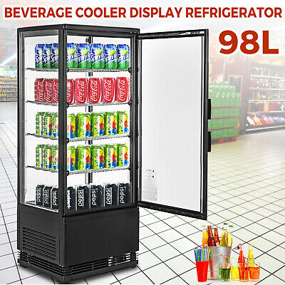 Commercial Beverage Refrigerator 98l Countertop Display Cooler Drink Show Case
