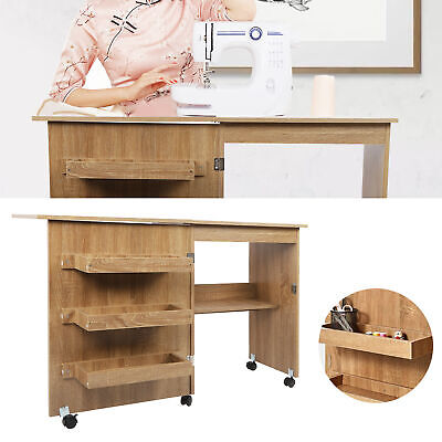 Sewing Table Foldable Craft Cart Wood Desk with Storage Shelves Lockable Casters