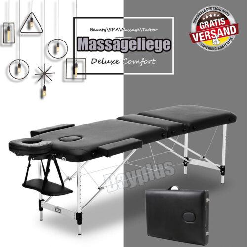 Mobile Alu Massageliege Massagetisch Massagebank klappbar 3 Zonen schwarz Tasche