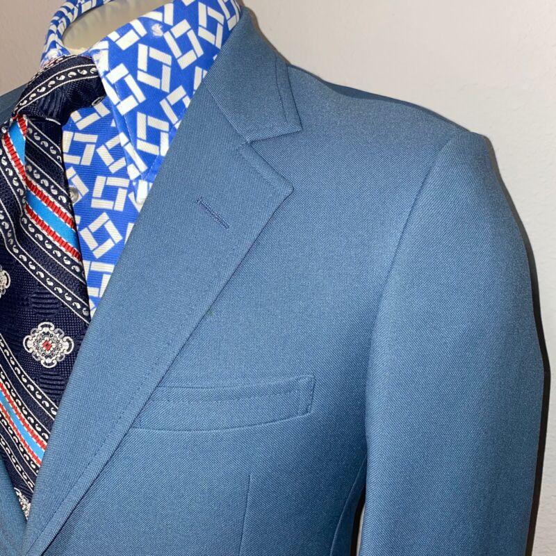 Vtg 60s 70s Blazer Jacket HARDWICK Leisure Suit Coat BLUE Disco MENS 38 SHORT