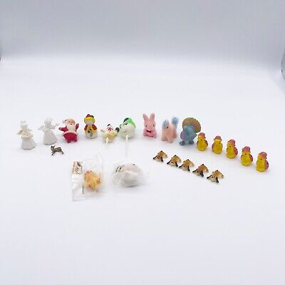 Vintage Hong Kong Mini Animal Holiday Plastic Flocked Figure Decor Christmas Pic