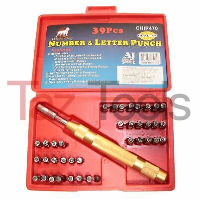 39 pc Steel Number & Letter Punch Set  Automatic 1/8