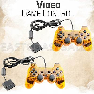 2x Orange Twin Shock Video Game Controller Joypad Pad for Sony PS2 Playstation 2